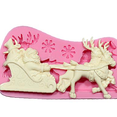 de molde de silicone diy 3d renas de Papai Natal de Santa com molde de trenó ferramentas de decoração do bolo de chocolate sm-242