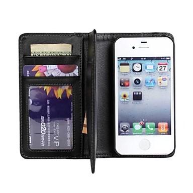 Iphone 4/4S/Iphone 4 - Hoesje met standaard/Full Body hoesjes - Effen Kleur/Speciaal Design (Zwart , Pu-Leder/Plastic)