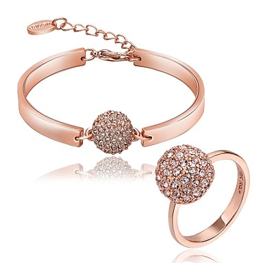 Dames Zirkonia Strass Verguld Roos verguld Sieraden set 1 Armband 1 Ring - Uniek ontwerp Bal Goud Sieraden Set Voor Feest Verjaardag