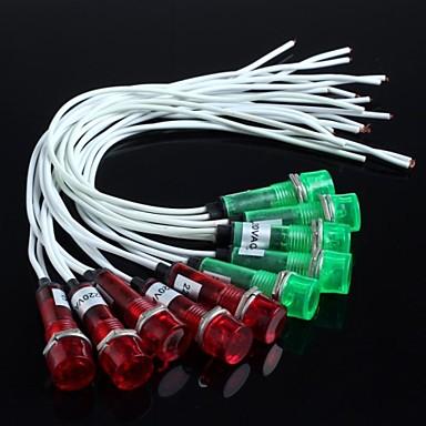 οδήγησε φώτα με σύρμα (κόκκινο + πράσινο) 10pcs