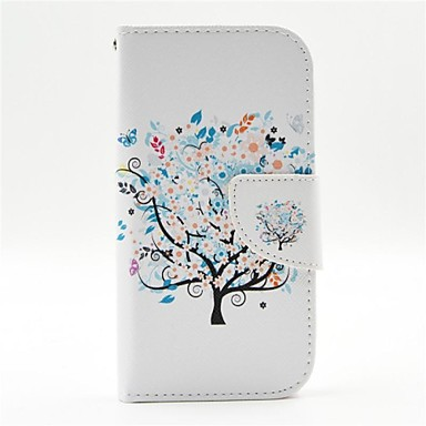 hoesje Voor Samsung Galaxy Samsung Galaxy hoesje Kaarthouder met standaard Flip Patroon Volledig hoesje Boom PU-nahka voor S4