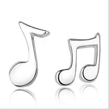 Γυναικεία Κουμπωτά Σκουλαρίκια Ασήμι Στερλίνας Ασημί Μουσική νότα Κοσμήματα Πάρτι Καθημερινά Causal Κοστούμια Κοσμήματα