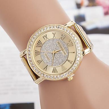 yoonheel Dames Vrijetijdshorloge Gesimuleerd Diamant Horloge Modieus horloge Kwarts imitatie Diamond Metaal Band Goud