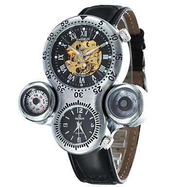 relógio mecânico Automático - da corda automáticamente Banda Branco Preto