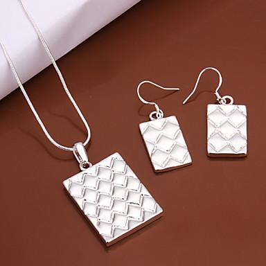 Damen versilbert Schmuck-Set - Grundlegend Quadratisch Silber Tropfen-Ohrringe / Halskette Für Hochzeit / Party / Alltag