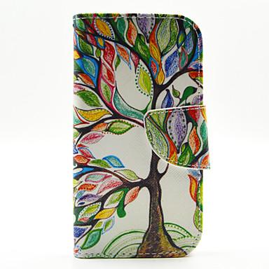 teste padrão colorido da árvore casos de couro pu de corpo inteiro com slot para cartão de Samsung Galaxy j1
