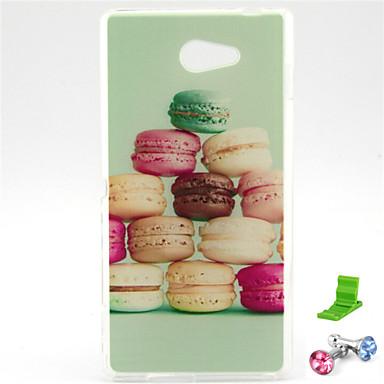 macarons bolo padrão TPU macio com ficha anti-poeira e ficar para Sony Xperia m2 s50h