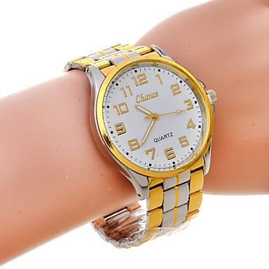 Relógio Casual Banda Dourado/Branco
