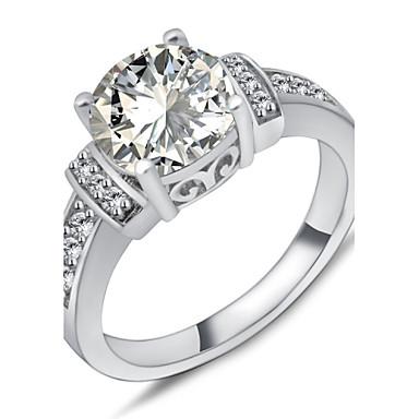 Feminino Maxi anel Moda Pedras preciosas sintéticas Zircão Zircônia Cubica Formato Circular Forma Geométrica Jóias Para Casamento Festa