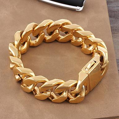 Pánské Dámské Řetězové   Ploché Náramky Titanová ocel Pozlacené Luxus  Klasické Náramky Šperky Zlatá Pro Svatební 8da86db183d