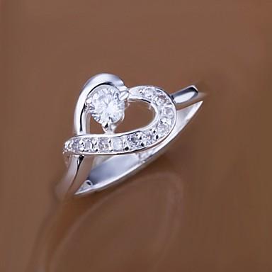 Ανδρικά Γυναικεία Εντυπωσιακά Δαχτυλίδια Πολυτέλεια Love Καρδιά Ζιρκονίτης Cubic Zirconia Επάργυρο Κοσμήματα Γάμου Πάρτι Καθημερινά Causal