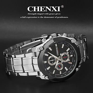 CHENXI® Heren Polshorloge Kwarts Japanse quartz Vrijetijdshorloge Roestvrij staal Band Zilver Wit Zwart