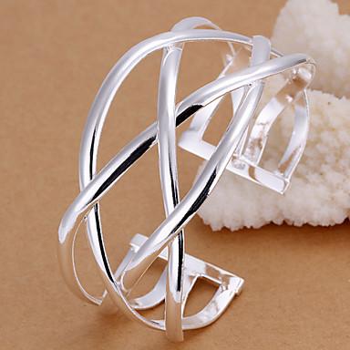 Γυναικεία Χειροπέδες Βραχιόλια Επάργυρο Ασημί Κοσμήματα Για Γάμου Πάρτι Καθημερινά Causal Χριστουγεννιάτικα δώρα 1pc