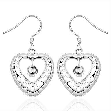 Naisten Tyttöjen Heart Kristalli Hopeoitu Dangle korvakorut - Heart Hopea Geometric Shape Heart korvakorut Käyttötarkoitus Häät Party