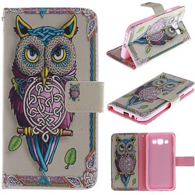 Para Samsung Galaxy Capinhas Porta-Cartão / Com Suporte / Flip / Estampada Capinha Corpo Inteiro Capinha Coruja Couro PU Samsung E5