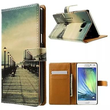 Para Samsung Galaxy Capinhas Case Tampa Porta-Cartão Com Suporte Flip Estampada Magnética Corpo Inteiro Capinha Vista da cidadeCouro