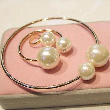 Mulheres Conjunto de Jóias Pérola Imitação de Pérola Liga Formato Circular Punhos Vintage Bracelete Anél Jóias de fantasia