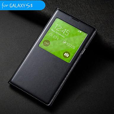 d grande auto sleep / wake-up com caixa estanque círculo aleta para i9600 Samsung Galaxy S5