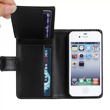 Para Capinha iPhone 5 Carteira / Porta-Cartão / Com Suporte / Flip Capinha Corpo Inteiro Capinha Cor Única Rígida Couro PU iPhone SE/5s/5