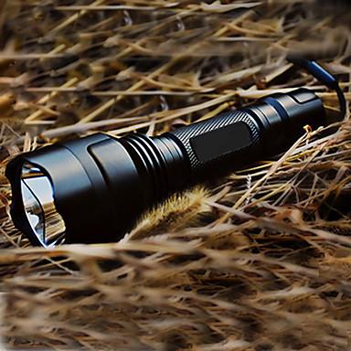 LED Fenerler LED Cree® XR-E Q5 1 Emitörler 200 lm 5 Işıtma Modu Pil ve Şarj Aleti ile Taktik, Şarj Edilebilir Kamp / Yürüyüş / Mağaracılık Siyah