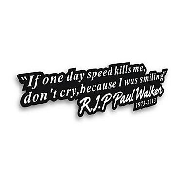 se um dia velocidade mata me rasgar Paul Walker janela do carro pára-choques decalque vinil adesivo