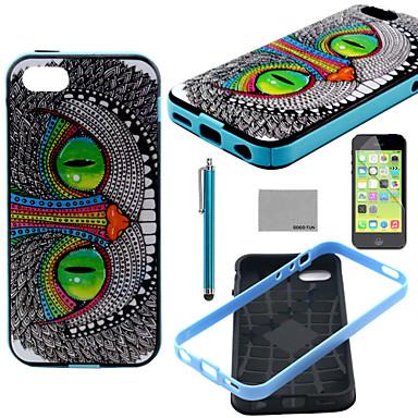 coco fun® groene ogen kat patroon zachte TPU achterkant van de behuizing deksel met screen protector en stylus voor iPhone 5c