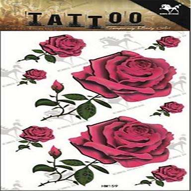 1 Non Toxic Μεγάλο Μέγεθος Χαμηλά στην Πλάτη Σειρά Λουλουδιών Αυτοκόλλητα Τατουάζ