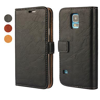 Para Samsung Galaxy Capinhas Carteira / Porta-Cartão / Com Suporte / Flip Capinha Corpo Inteiro Capinha Cor Única Couro PU Samsung S5