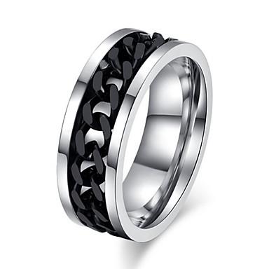 Ανδρικά Τιτάνιο Ατσάλι Δακτύλιος Δήλωσης - Κοσμήματα Love Ασημί / Μαύρο Δαχτυλίδι Για Γάμου Πάρτι Δώρο Καθημερινά Causal Αθλητικά