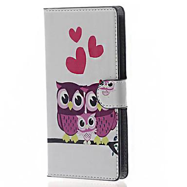 Capinha Para LG Capinha LG Porta-Cartão Carteira Com Suporte Flip Corpo Inteiro Corujas Rígida Couro Ecológico para LG Leon /LG C40 H340N