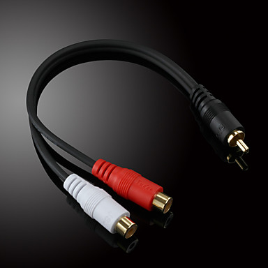 JSJ® 0.2M 0.656FT RCA Male to 2x RCA Female Audio Video Cable Black for Musical Recording