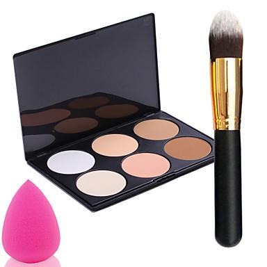 pro partido 6 cores enfrentar bronzeadores paleta de maquiagem em pó + escova do pó + Power Puff
