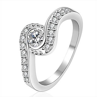 للمرأة خاتم الماس الاصطناعية أساسي تصفيح بطلاء الفضة دائري أجنحة مجوهرات هدايا عيد الميلاد زفاف حزب مناسبة خاصة الذكرى السنوية عيد ميلاد