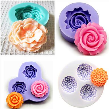 set van 4 siliconen bakvormen fondant schimmel taart decoratie schimmel (willekeurige kleur)