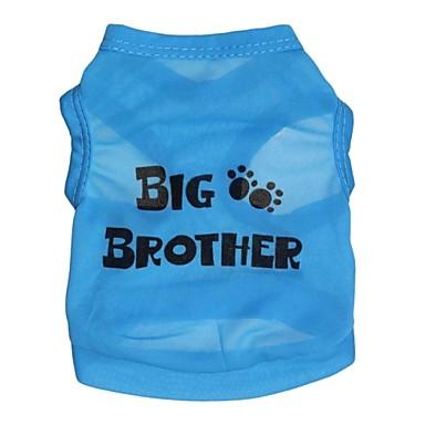 Gatos / Cães Camiseta Azul Roupas para Cães Verão Carta e Número Fantasias