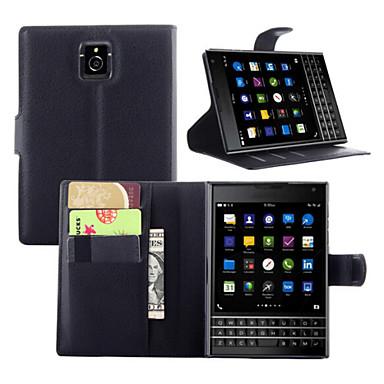 Capinha Para Blackberry Capinhas BlackBerry Porta-Cartão Carteira Com Suporte Flip Capa Proteção Completa Côr Sólida Rígida PU Leather