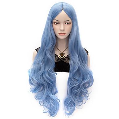 Synthetische pruiken Golvend Body Golf Dichtheid Zonder kap Dames Blauw Erg lang Synthetisch haar