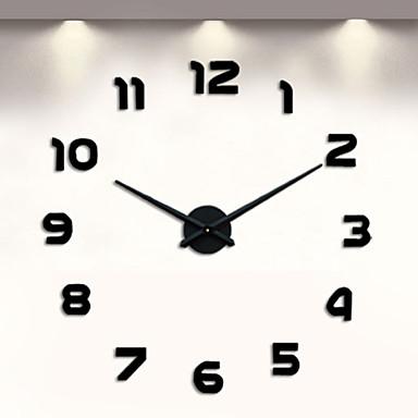 billige Hjemme Indretning-frameless diy væg ur, 3d væg ur store mute væg klistermærker til stuen soveværelse hjem dekorationer (sort)