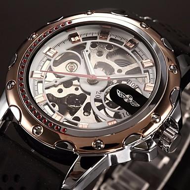 82b54192ab6 WINNER Homens Relógio Esqueleto Relógio de Pulso relógio mecânico  Automático - da corda automáticamente Silicone Preta