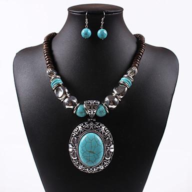 Zestawy biżuterii Postarzane Oval Shape Green 1 Naszyjnik 1 parę kolczyków Na Ślub Impreza Specjalne okazje Urodziny Zaręczynowy Casual1