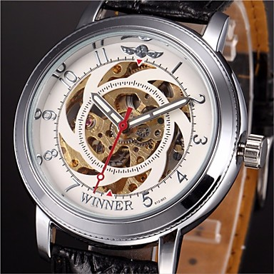 WINNER Heren Automatisch opwindmechanisme mechanische horloges / Polshorloge Hol Gegraveerd PU Band Amulet Zwart