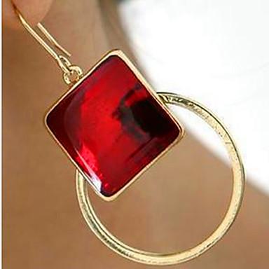 Dames Druppel oorbellen Folk Style Kubieke Zirkonia Verguld Legering Rechthoekige vorm Geometrische vorm Sieraden Voor