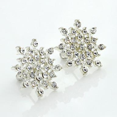 Mulheres Cristal Strass Chapeado Dourado Cristal Austríaco Brincos Curtos - Fashion Europeu Prata Brincos Para
