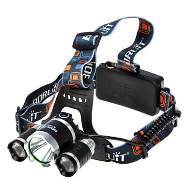 Boruit® T6 Lanternas de Cabeça Farol Dianteiro LED 1800 lumens lm 4.0 Modo Cree XM-L T6 Super Leve Campismo / Escursão / Espeleologismo