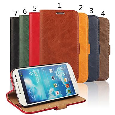 Voor Samsung Galaxy hoesje Kaarthouder / Portemonnee / met standaard / Flip hoesje Volledige behuizing hoesje Effen kleur Echt leer