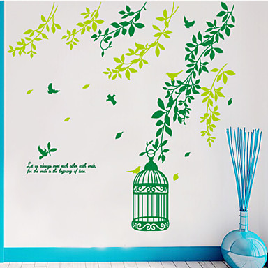 estilo decalques adesivos de parede parede parede pássaro verde gaiola pvc adesivos