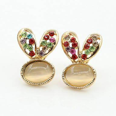 Feminino Brincos Curtos Cristal Moda Europeu Strass Chapeado Dourado Imitações de Diamante Cristal Austríaco 18K ouro Jóias Para