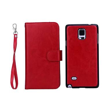 Voor Samsung Galaxy Note Portemonnee / Kaarthouder / Magnetisch hoesje Volledige behuizing hoesje Effen kleur PU-leer Samsung Note 4