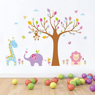 αυτοκόλλητα τοίχου τοίχου στυλ αυτοκόλλητα αυτοκόλλητα ζώων κινουμένων σχεδίων δέντρο PVC τοίχο