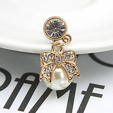 Bowknot Pearl Zircon 3.5mm Dustproof Plug for iPhone 8 7 Samsung Galaxy S8 S7 Sumsung